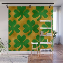 Shamrock pattern - orange, green Wall Mural