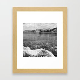 Island of Krk black and white Framed Art Print