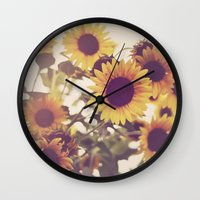 sunflowers Wall Clocks featuring Sunflowers by elle moss