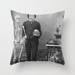Edgar Allan Poe with Skull and Skeleton macabre black and white photograph Throw Pillow
