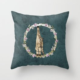 Lar Gibbon Lily Wreath Throw Pillow