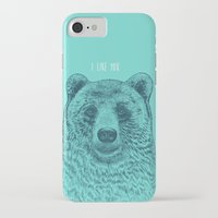 i like you iPhone & iPod Cases featuring I Like You (Bear) by Rachel Caldwell