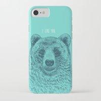 i like you iPhone & iPod Cases featuring I Like You (Bear) by Rachel Caldwell
