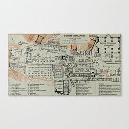 Vintage Map of The Roman Forum (1911) Canvas Print