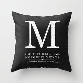 Monogram Letter M Initial with Black & White Alphabet Throw Pillow