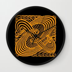 Art Nouveau Swirls in Orange and Black Wall Clock