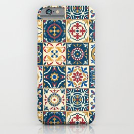 Moroccan Tiles Pattern Multicolor iPhone Case
