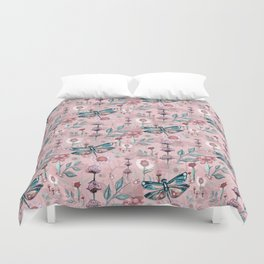 Rose Gold Dragonfly Garden | Pastel Duvet Cover