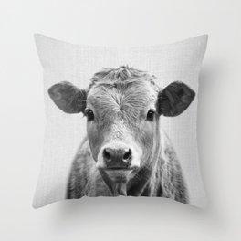 Cow 2 - Black & White Throw Pillow