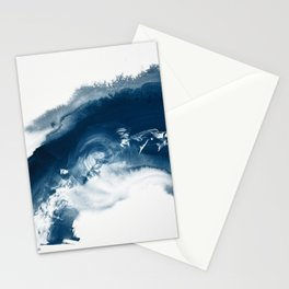 Building the Universe:  A minimal abstract acrylic painting in blue and white by Alyssa Hamilton Stationery Cards