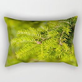 Green coniferous fresh shoots detail Rectangular Pillow