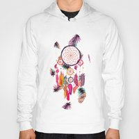preppy Hoodies featuring Hipster Watercolor Dreamcatcher Feathers Pattern  by Girly Trend