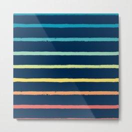 Blue Festival Rainbow Stripe Metal Print