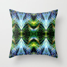 Blue Green Bright Rays,Fractal Art Throw Pillow