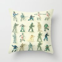 army Throw Pillows featuring Broken Army by Cassia Beck