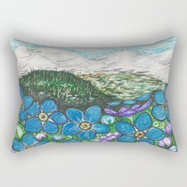 Mountains and Forget-Me-Nots Rectangular Pillow