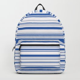 White Blue Candy Lines Backpack