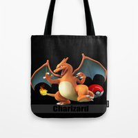 charizard Tote Bags featuring Charizard by Yamilett Pimentel