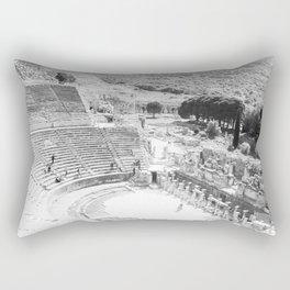 Travel Escape | Arena Ruins Ephesus Black and White Stadium European Mountain Wilderness Landscape Rectangular Pillow