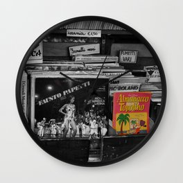 Italian Vintage Comic and Books Black and White & Color Photography Wall Clock