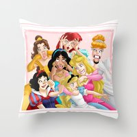 princess Throw Pillows featuring Smile for the Camera by Brianna