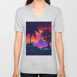 Neon glowing grid rocks and palm trees, futuristic landscape design Unisex V-Neck