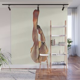 8283s-SLG Legs Up Woman in Mesh Stockings Watercolor Render Wall Mural