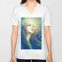crown V-neck T-shirts featuring Crown by Anna Dittmann