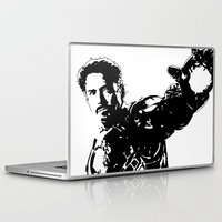 robert downey jr Laptop & iPad Skins featuring Iron Man - Robert Downey Jr by bailey harper
