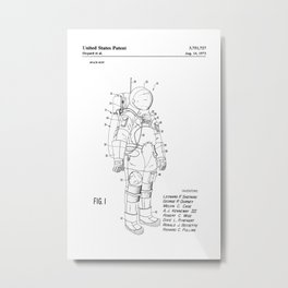 NASA Space Suit Patent Metal Print