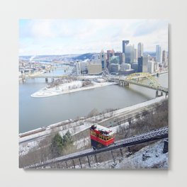 Pittsburgh point and incline in winter 22 Metal Print