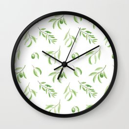 Olives watercolor pattern Wall Clock