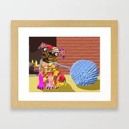 Fractimal Dog - Pug pulling on a ball of Yarn in front of a fireplace. Framed Art Print