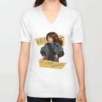 kili V-neck T-shirts featuring Kili at Your Service by Hattie Hedgehog