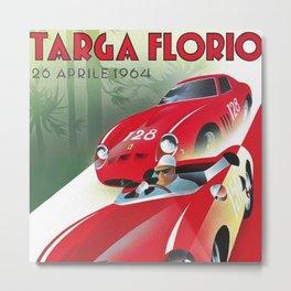 Vintage Italian Roadster Racing Targa Florio Sports Car Poster Metal Print