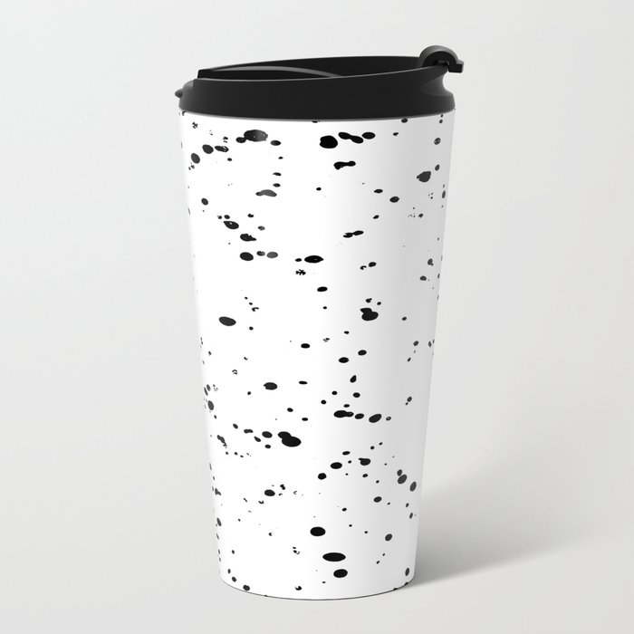 Paint Spatter Black on White Metal Travel Mug
