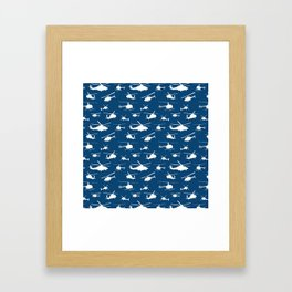 Helicopter Silhouettes on Blue Framed Art Print