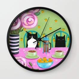 French Press Coffee Cats Wall Clock