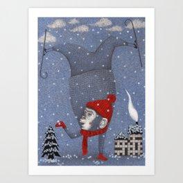 Monkey in the Snow Art Print