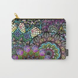 Colorful Floral Mandala Pattern with Geometric Drawings Carry-All Pouch