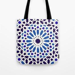 V19 Epic Light Blue Traditional Moroccan Pattern Design . Tote Bag