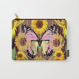 BLACK ABSTRACT PINK BUTTERFLY SUNFLOWER FLORAL Carry-All Pouch