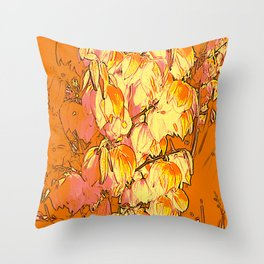 Indian Summer Yucca Flowers Throw Pillow