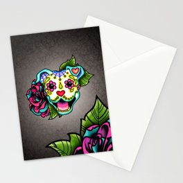 Smiling Pit Bull in White - Day of the Dead Pitbull Sugar Skull Stationery Cards
