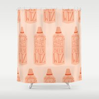 wiz khalifa Shower Curtains featuring Getting crazy with the cheese wiz by Yellow Chair Design