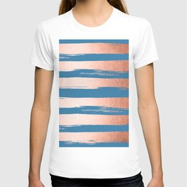 Trendy Stripes Sweet Peach Coral Pink + Saltwater Taffy Teal T-shirt