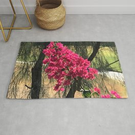 Unexpected Vibrant Pink-Magenta Flowers Under Lyrical Tree Rug