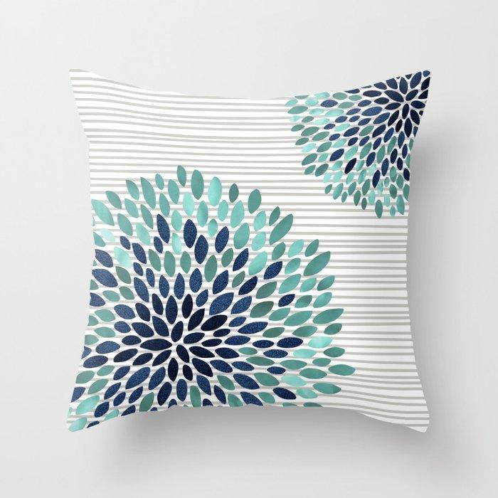 Aqua And Navy Throw Pillow