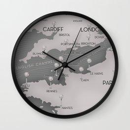 English Channel map (mono) Wall Clock