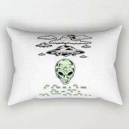 Funny Alien UFO Flying Saucers Prank Morse Code Aliens Like Coffee Rectangular Pillow